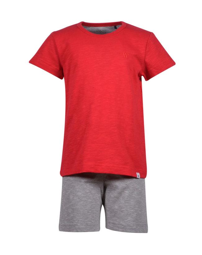 Woody Jongens-Heren pyjama, grijs-wit gestreept