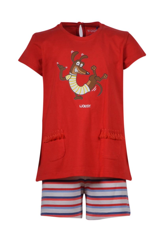 Woody Meisjes-Dames pyjama, felrood