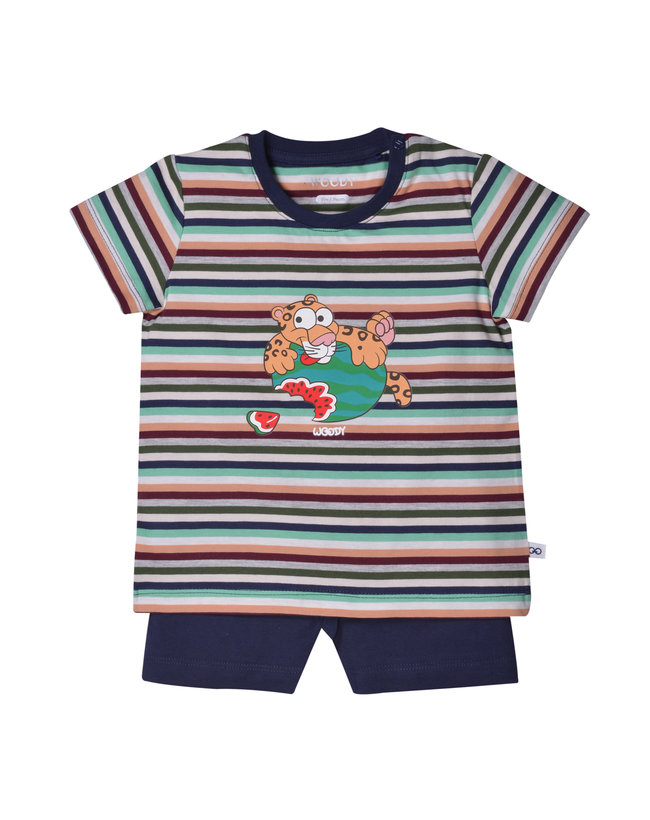 Woody Unisex pyjama, jungle gestreept