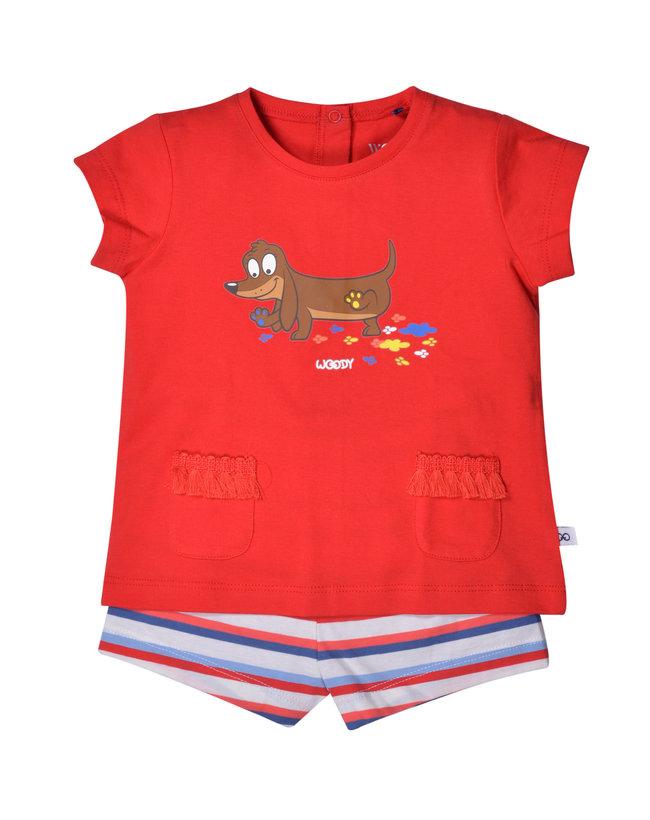 Woody Unisex pyjama, felrood