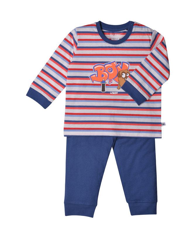 Woody Unisex pyjama, rood-blauw gestreept