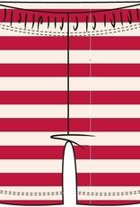 Woody Unisex short, rood-wit gestreept