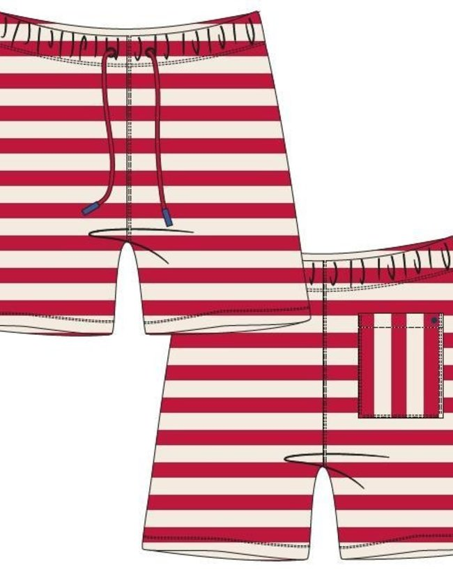 Woody Jongens-Heren short, rood-wit gestreept