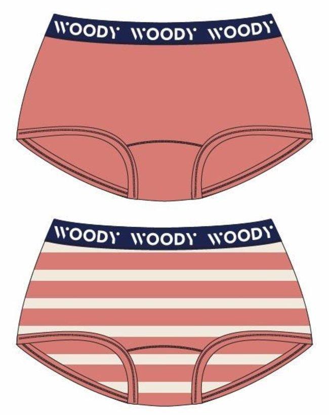 Woody Meisjes short, duokoraal + streep