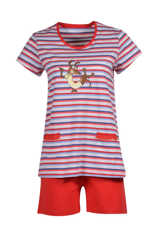 Woody Meisjes-Dames pyjama, rood-blauw gestreept
