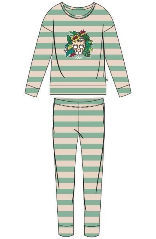 Woody Meisjes-Dames pyjama, jadegroen-wit gestreept