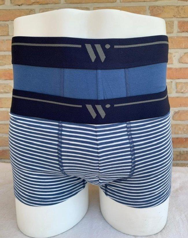 Woody Heren short, duo marineblauw + streep