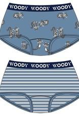Woody Meisjes short, duo blauw streep+blauw kat geprint