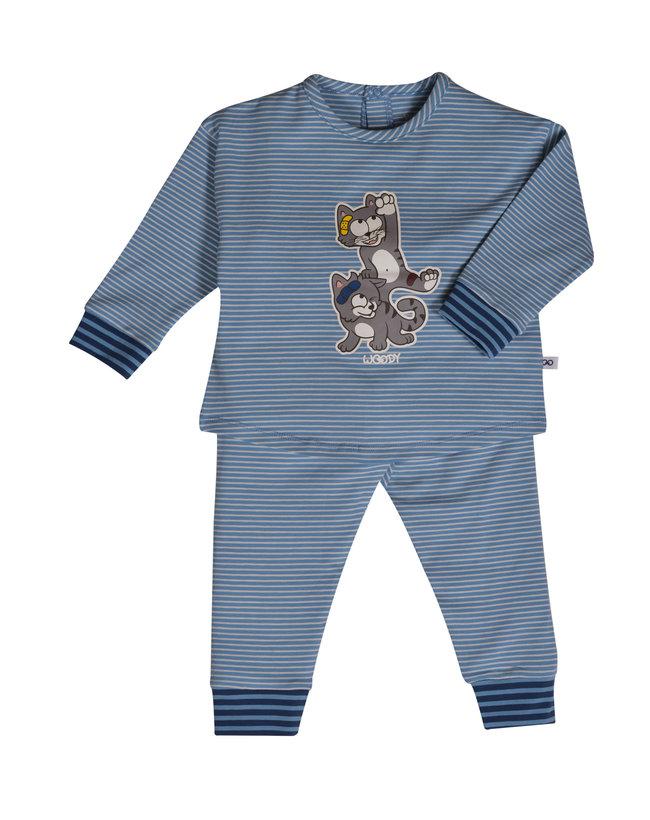 Woody Meisjes pyjama, grijs met kat gestreept