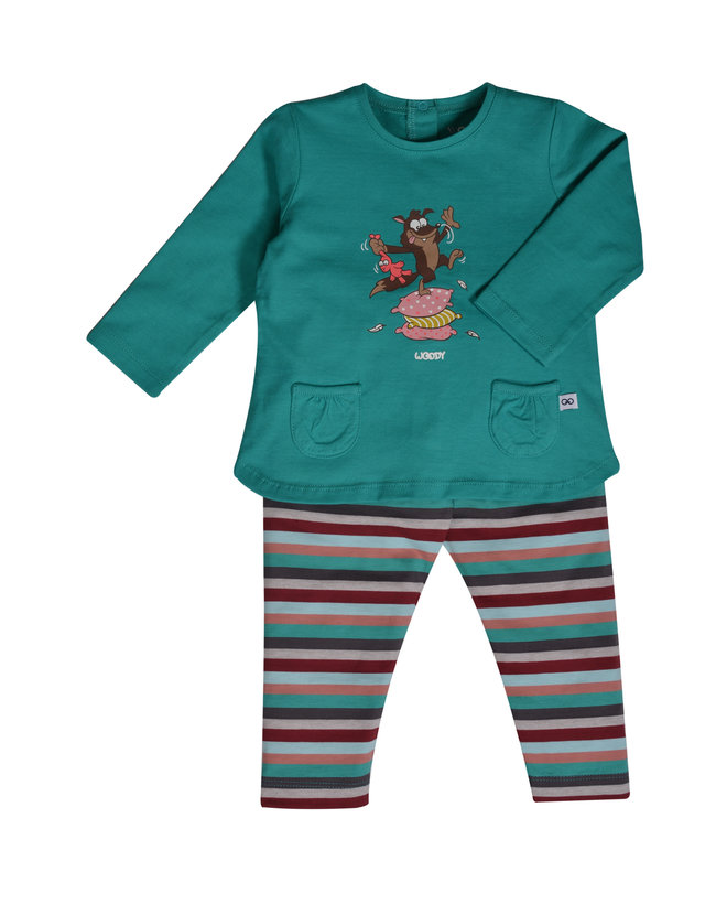 Woody Meisjes pyjama, aquagroen
