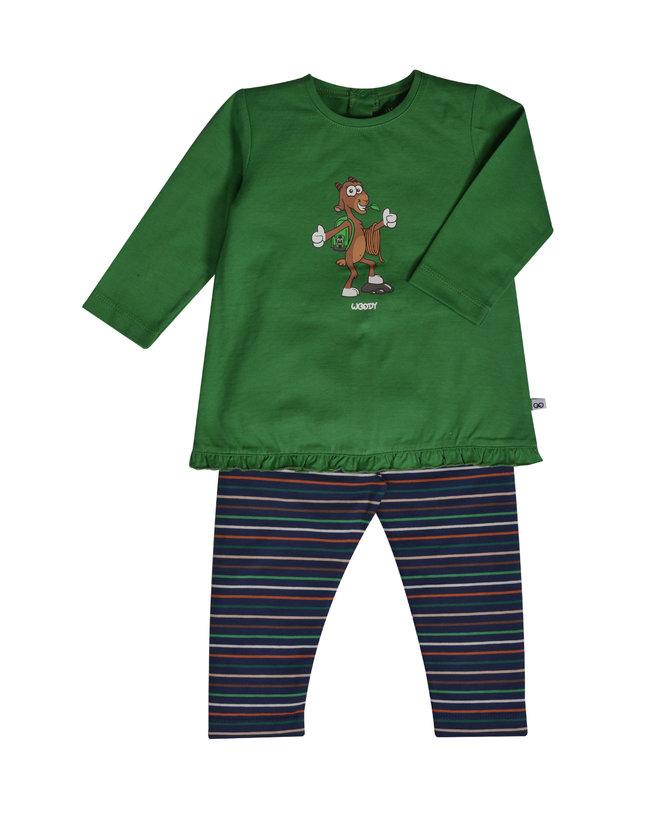 Woody Meisjes pyjama, woudgroen
