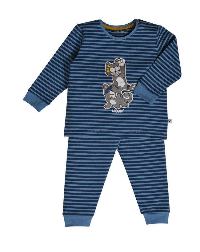 Woody Jongens pyjama, donkerblauw-blauw gestreept