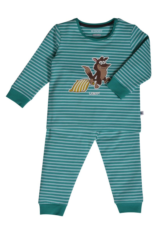 Woody Jongens pyjama, aquagroen-pastelgroen gestreept