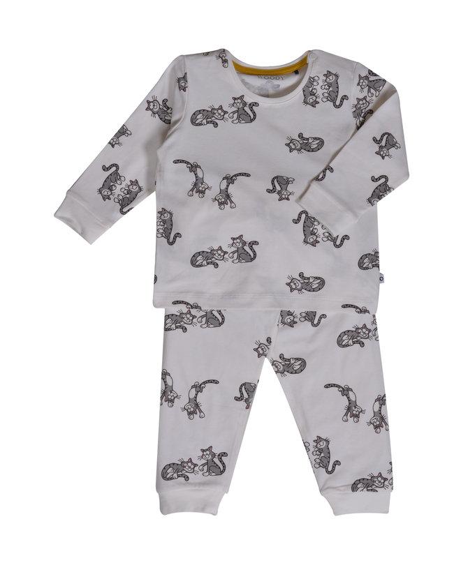 Woody Jongens pyjama, gebroken wit met kat