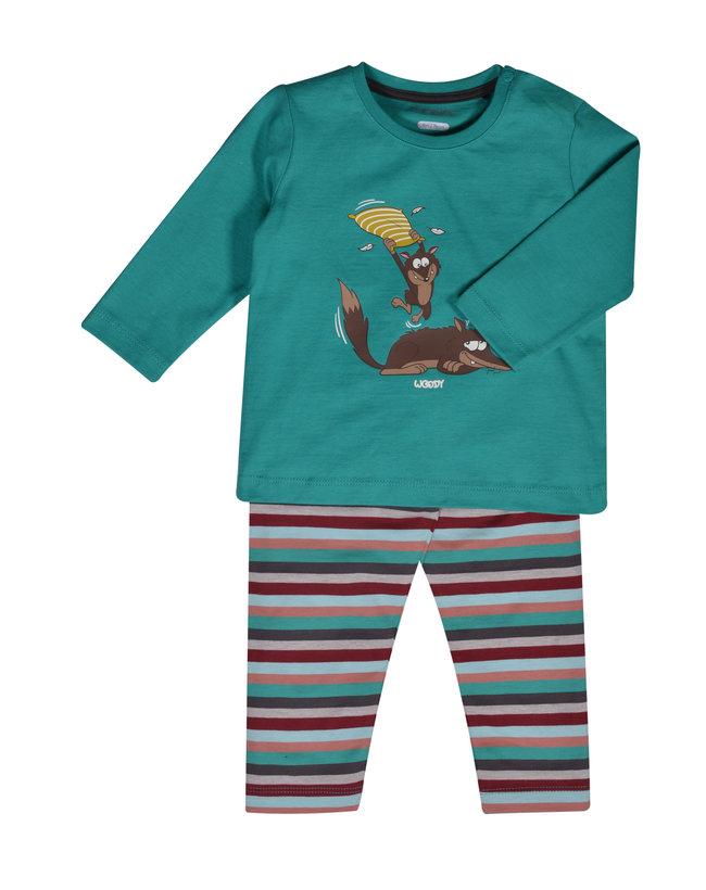 Woody Jongens pyjama, aquagroen