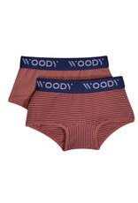 Woody Meisjes short, duo roze streep+roze