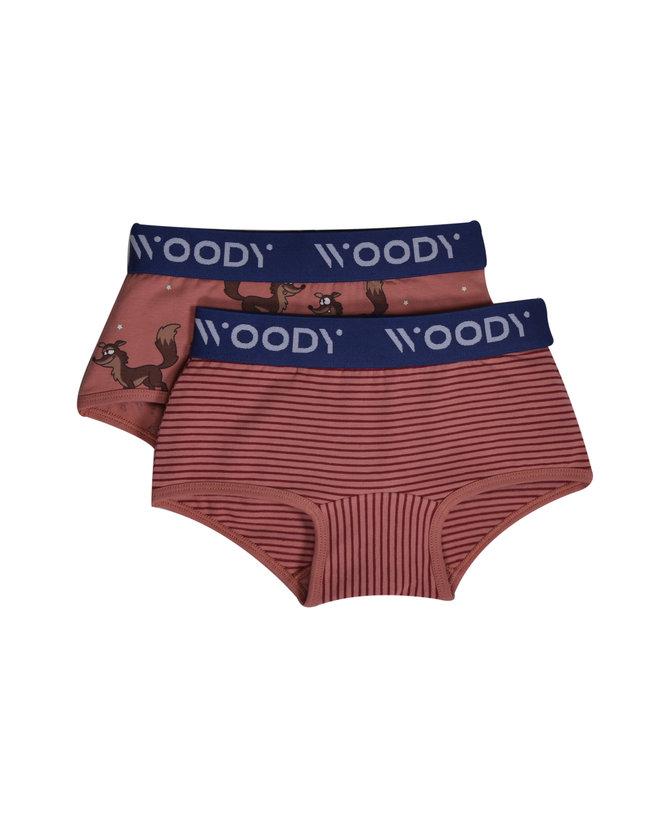 Woody Meisjes short, duo roze streep+roze wolf geprint