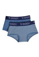 Woody Meisjes short, duo blauw streep+blauw