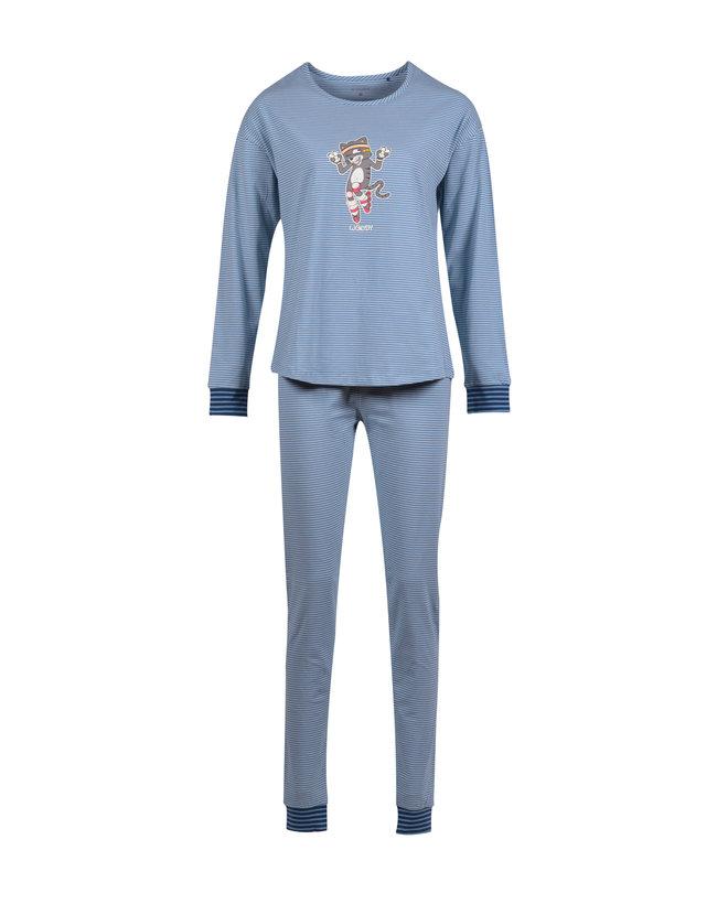 Woody Meisjes-Dames pyjama, grijs met kat gestreept