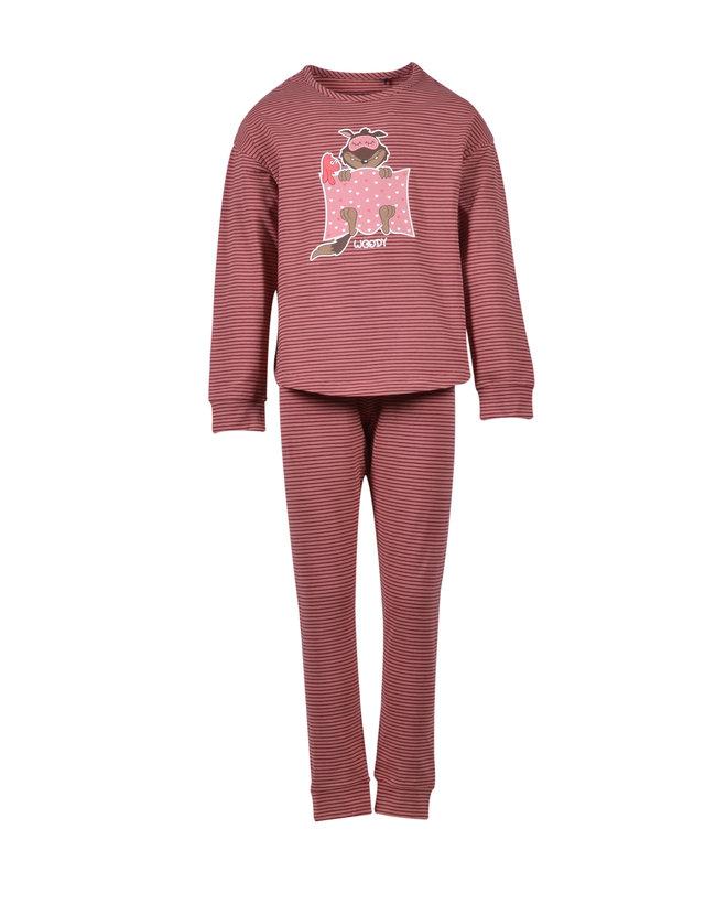 Woody Meisjes-Dames pyjama, oudroze-bordeaux gestreept