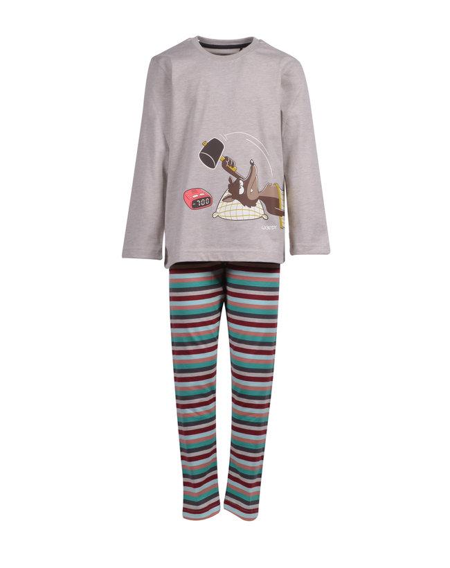 Woody Jongens-Heren pyjama, beige mélange