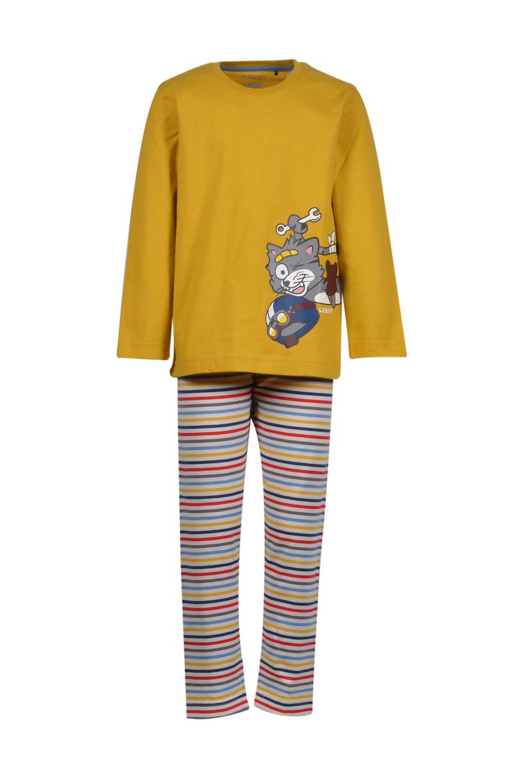 Woody Jongens-Heren pyjama, currygeel