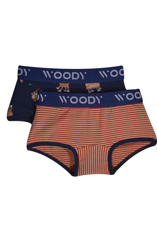 Woody Meisjes short, duo roeste streep+donkerblauw geit geprint