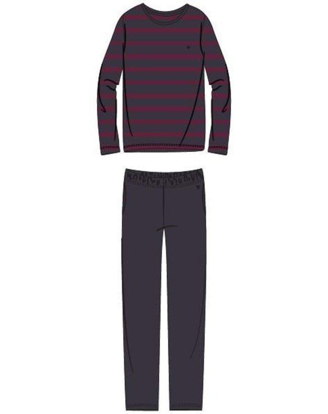 Woody Jongens-Heren pyjama, anthraciet-bordeaux gestreept