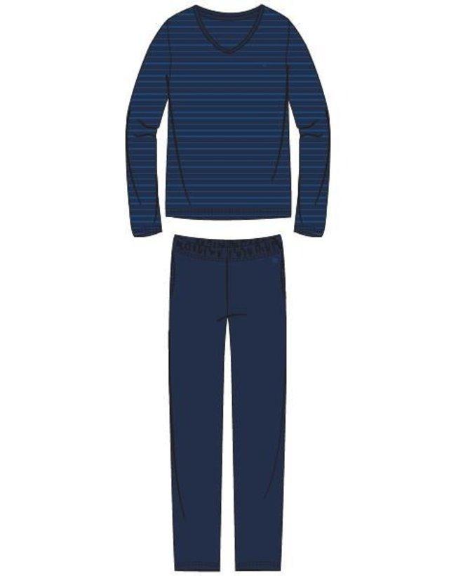Woody Heren pyjama, donkerblauw-blauw gestreept