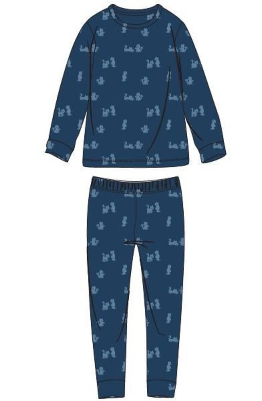 Woody Jongens-Heren pyjama, blauw met kat