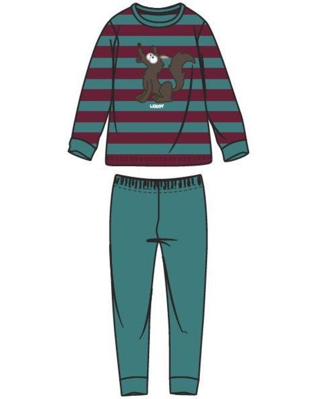 Woody Jongens-Heren pyjama, groen-bordeaux gestreept
