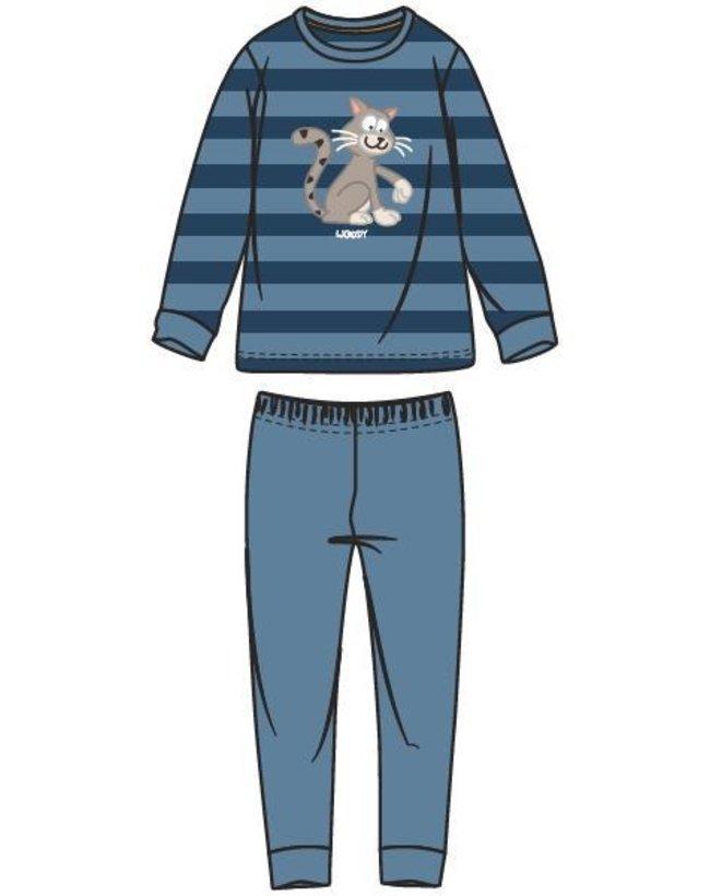 Woody Jongens-Heren pyjama, donkerblauw-blauw