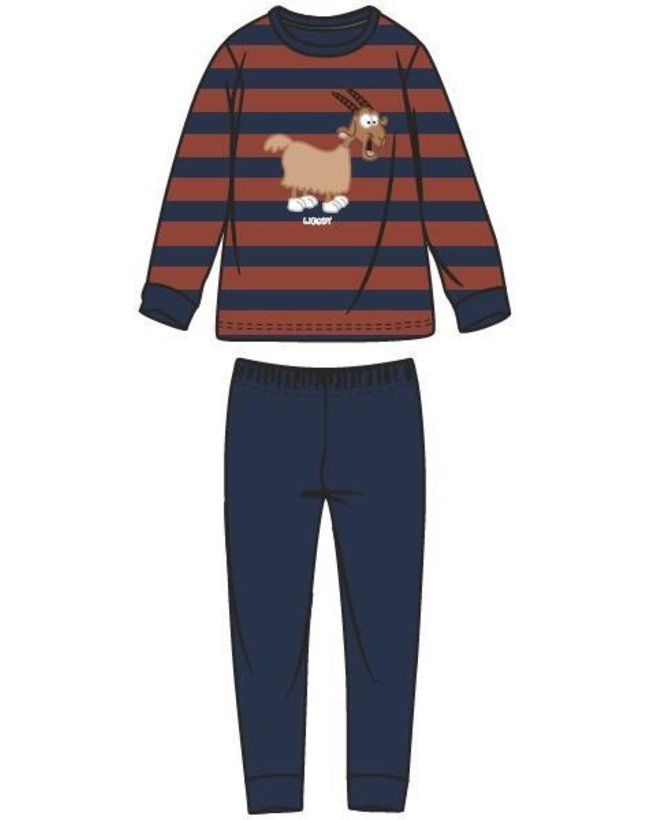 Woody Jongens-Heren pyjama, donkerblauw-roest gestreept