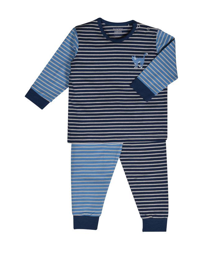 Woody Jongens pyjama, blauw-gebroken wit gestreept