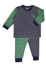 Woody Jongens pyjama, donkerblauw-gebroken wit gestreept