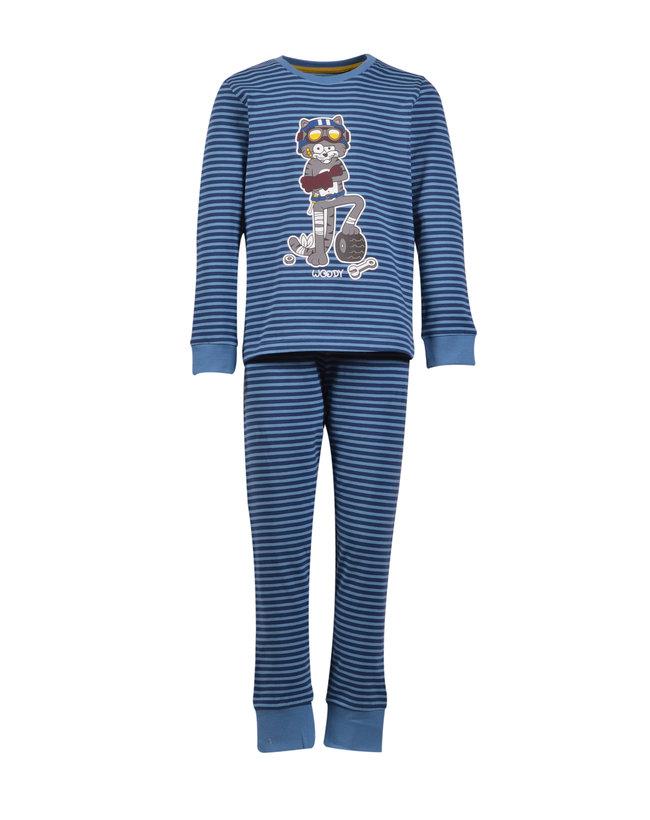 Woody Jongens-Heren pyjama, donkerblauw-blauw gestreept