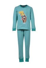 Woody Jongens-Heren pyjama, aquagroen-pastelgroen gestreept