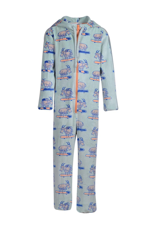 Woody Meisjes-Dames jumpsuit, pastelgroen met geit