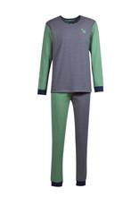 Woody Jongens-Heren pyjama, donkerblauw-gebroken wit gestreept