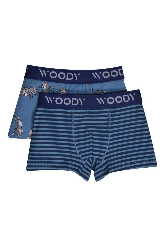 Woody Jongens short, duo blauw streep+blauw kat geprint