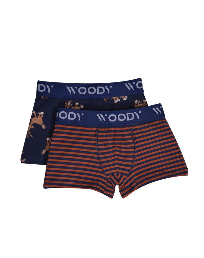 Woody Jongens short, duo donkerblauwe streep+donkerblauw geit geprint