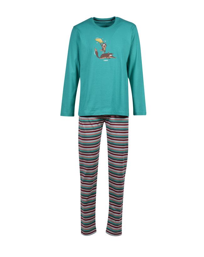Woody Jongens-Heren pyjama, aquagroen