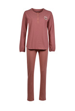 Woody Dames pyjama, oudroze-bordeaux gestreept