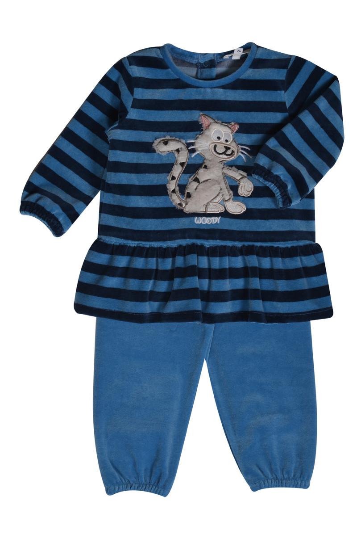Woody Meisjes pyjama, donkerblauw-blauw