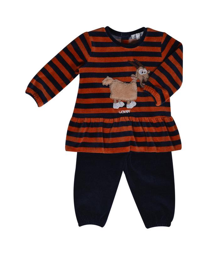 Woody Meisjes pyjama, donkerblauw-roest gestreept