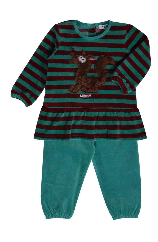 Woody Meisjes pyjama, groen-bordeaux gestreept