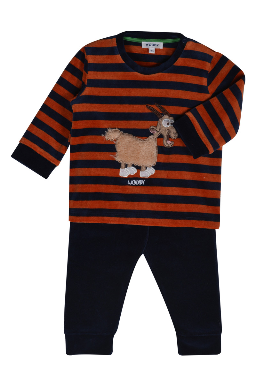 Woody Jongens pyjama, donkerblauw-roest gestreept