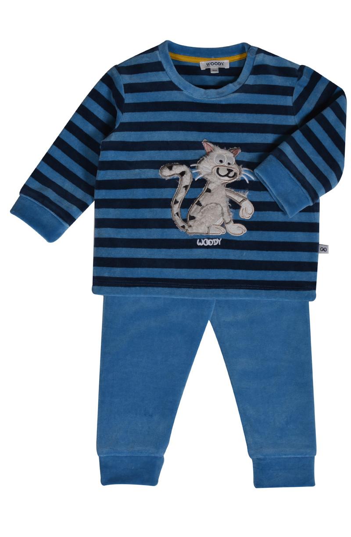 Woody Jongens pyjama, donkerblauw-blauw