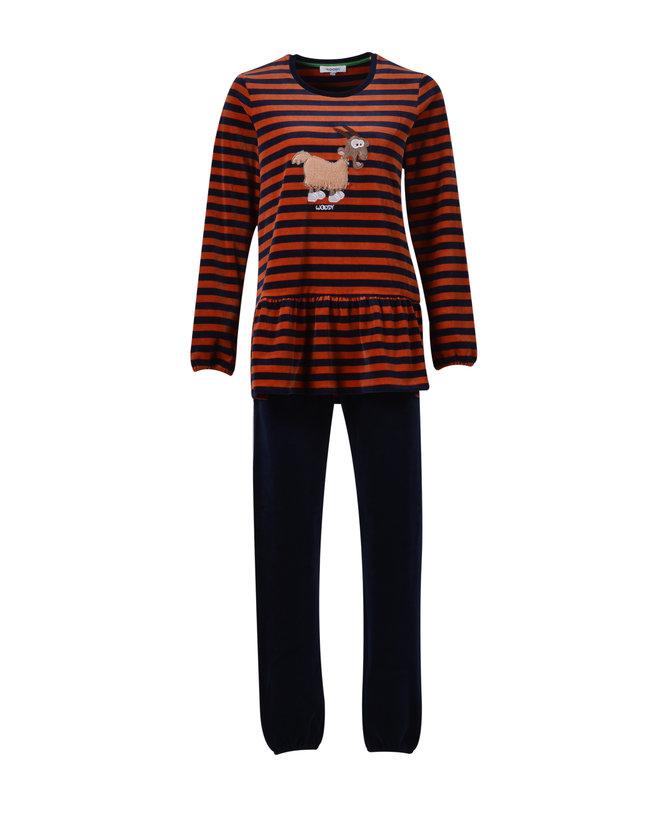 Woody Meisjes-Dames pyjama, donkerblauw-roest gestreept