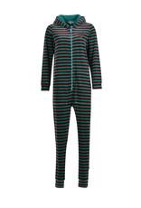 Woody Unisex onesie, groen-bordeaux gestreept